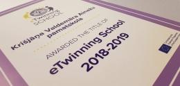 """Ainažu pamatskolai piešķir """"eTwinning Skola"""" statusu"""